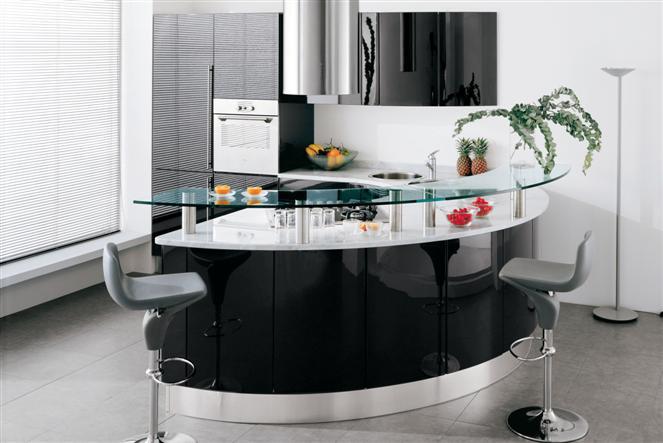 Cucina rotonda geosfera garnero design for Piccole cucine con penisola