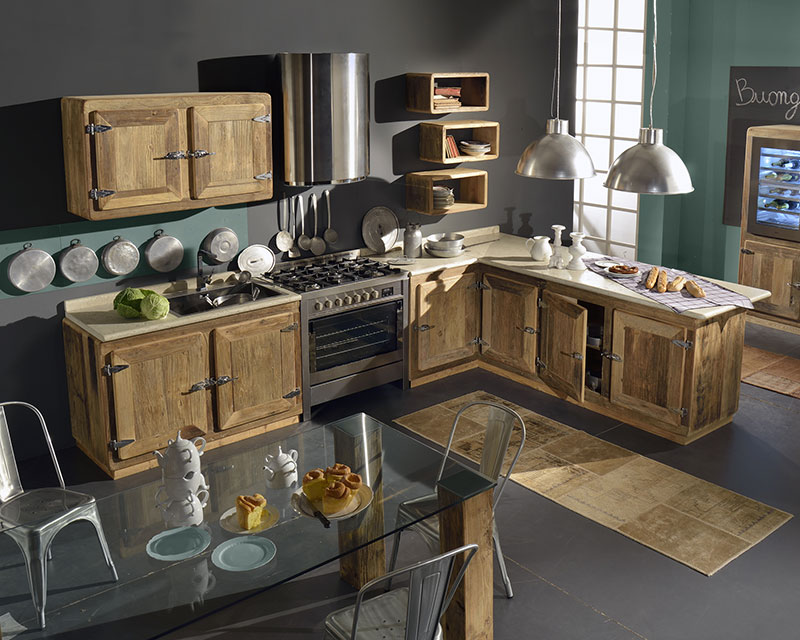 Cucine in legno naturale charmeygarnero design for Arredamento industriale ikea